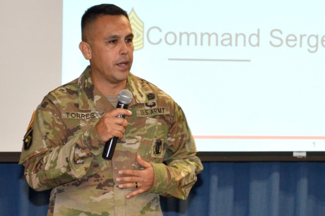 Command Sgt. Maj. Marco Torres addresses leaders from across the workforce earlier this year at Joint Base San Antonio-Fort Sam Houston, Texas. Torres is the command sergeant major for the Mission and Installation Contracting Command.