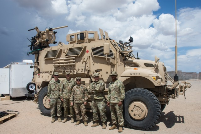 YUMA, Arizona---3rd Armored Brigade Combat Team, 1st Cavalry Division, Electronic Warfare Team, with their new Electronic Warfare Tactical Vehicle.  Greywolf is the first BCT to receive the new vehicle developed to provide Army Electronic Warfare Teams with the ability to sense and jam enemy communications and networks from an operationally relevant range at the brigade combat team level.