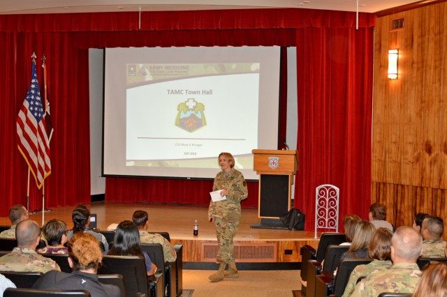 Col. Mary Krueger, commander, Tripler Army Medical Center (Tripler) held a series of town hall meetings for staff members of all ranks to assist in developing the organization's mission and vision as a premier health care system in the Indo-Pacific region, at Tripler's Kyser Auditorium, Sept. 10.