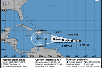 Puerto Rico National Guard ready as Hurricane Isaac tracks around island