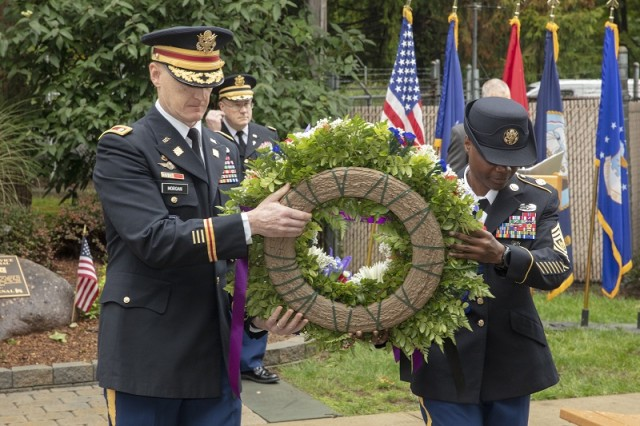 PICATINNY ARSENAL, N.J. - A wreath was placed on the 9/11 memorial marker by Picatinny Arsenal Garrison Commander Lt. Col. Samuel Morgan, and Command Sgt. Maj. Anneka Ford, Sept. 11, 2018.