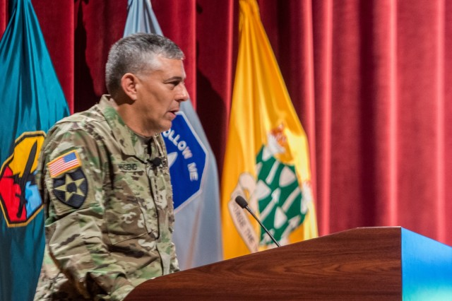 "FORT BENNING, Ga (Sept. 11, 2018) - Gen. Stephen J. Townsend, commanding general of U.S. Army Training and Doctrine Command, briefs attendees on the priorities and mission of TRADOC on the first day of the 2018 Maneuver Warfighter Conference, Sept. 11, 2018 at Fort Benning, Georgia. The theme for this years' conference is ""Sharpening our Craft."" (U.S. Army photo by Patrick A. Albright, Maneuver Center of Excellence, Fort Benning Public Affairs)"