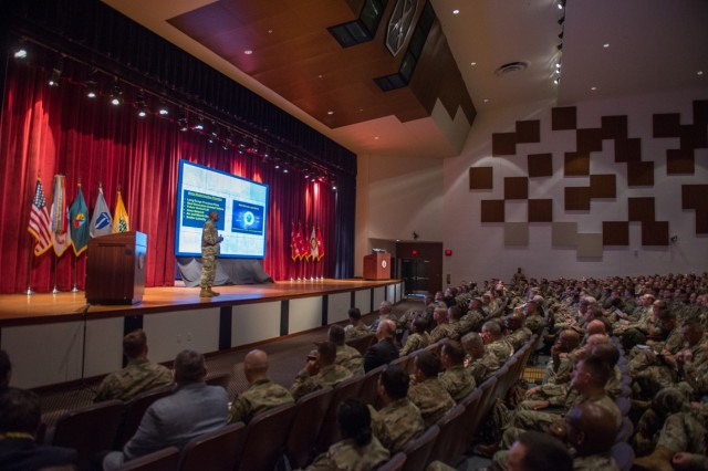 "FORT BENNING, Ga. (Sept. 11, 2018) - Maj. Gen. Gary Brito, commanding general of the Maneuver Center of Excellence and Fort Benning, Georgia, gives opening remarks and introduces the guest speaker on the first day of the 2018 Maneuver Warfighter Conference, Sept. 11, 2018, at Fort Benning, Georgia. The theme for this year's conference is ""Sharpening our Craft."" (U.S. Army photo by Patrick A. Albright, Maneuver Center of Excellence, Fort Benning Public Affairs)"