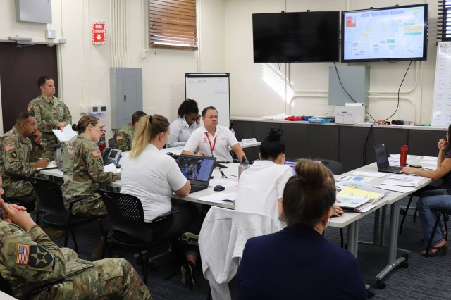 Honolulu District Commander Lt. Col. Kathryn Sanborn (center, left) met with Emergency Operation Center (EOC) personnel Sept. 11, 2018, discussing changes or updates on the USACE response to Typhoon Mangkhut that ravaged the Commonwealth of the Northern Mariana Islands, and Tropical Storm Olivia that is expected to make landfall tonight in the eastern Hawaiian Islands. USACE has more than 100 personnel engaged and coordinating with local, state, and federal response in preparation for potential FEMA mission assignments in the storm areas.