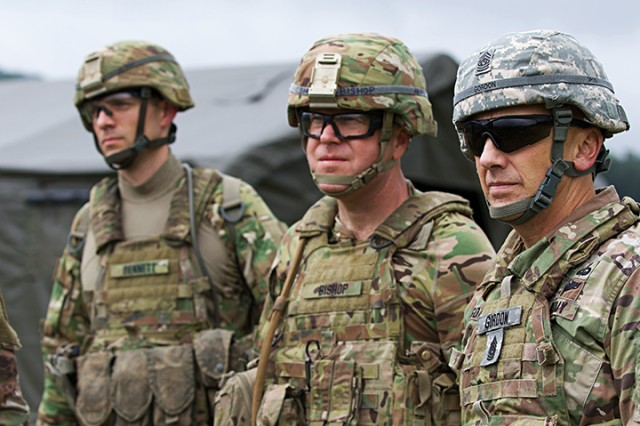 State Command Sgt. Maj. James R. Gordon and 76th Brigade Command Sgt. Maj. Steven J. Bishop observe their Soldiers during live-fire exercises for Orient Shield 2018.