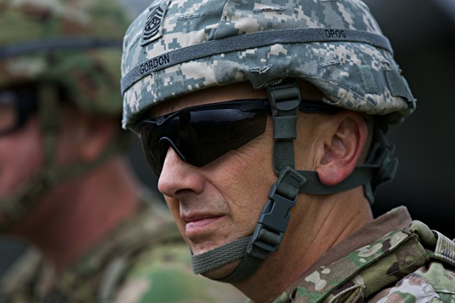 State Command Sgt. Maj. James R. Gordon observes his Soldiers during live-fire exercises for Orient Shield 2018.