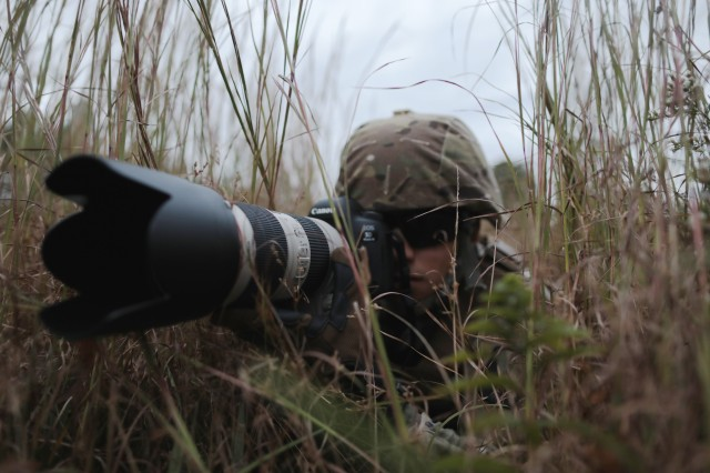 A Soldier tests his camera as part of the Tactical Digital Media training at Aberdeen Proving Ground, Md., on Oct. 11, 2017.