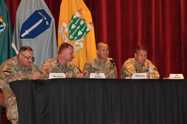 "FORT BENNING, Ga (Sept. 12, 2018) - Panelists on the ""Building Readiness"" panel of the second day of the Maneuver Warfighter Conference discuss how to build and sustain readiness. The 2018 Maneuver Warfighter Conference continued into its second day Sept. 12, 2018 at the Maneuver Center of Excellence at Fort Benning, Georgia. (U.S. Army photo by Markeith Horace, Maneuver Center of Excellence, Fort Benning Public Affairs)"