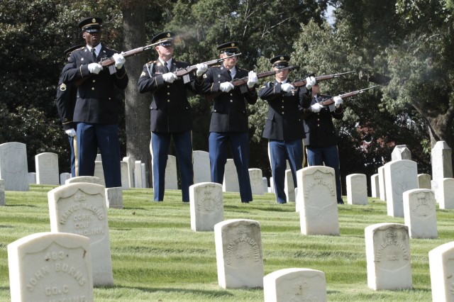 Members of the Georgia Army National Guard Military Funeral Honors team conduct a weapons salute for 2nd Lt. William B. Cox, 403rd Bombardment Group, United States Army Air Corps, on Sept. 12, 2018 at the Marietta National Cemetery, Marietta, Ga.