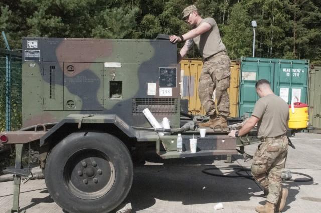 Members of the 678th ADA BDE, South Carolina National Guard, set up for the Spartan Shiel exercise, the BDE's EXEVAL,  held Rhine Ordnance Barrack, Rhine Ordnance Barracks, Germany, Sept 9 - 13, 2018.