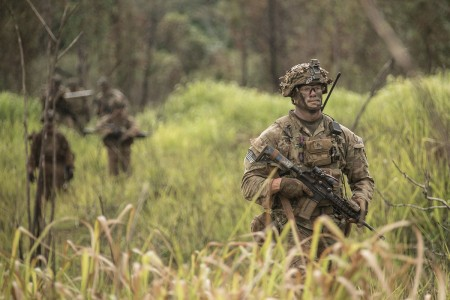 Soldiers assigned to 2nd Infantry Brigade Combat Team, 25th Infantry Division, begin the movement phase during a combined arms live-fire exercise at Schofield Barracks, Hawaii, Aug. 9, 2018. The exercise is part of an overall training progression in order to maintain combat readiness in preparation for a Joint Readiness Training Center rotation later this year.