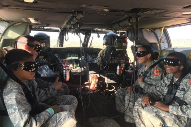 "SANTA ROSA LAKE, N.M. -- Civil Air Patrol cadets who had been ""rescued"" as part of the exercise are evacuated in a Black Hawk U-H60 helicopter to the local airport, Aug. 4, 2018."