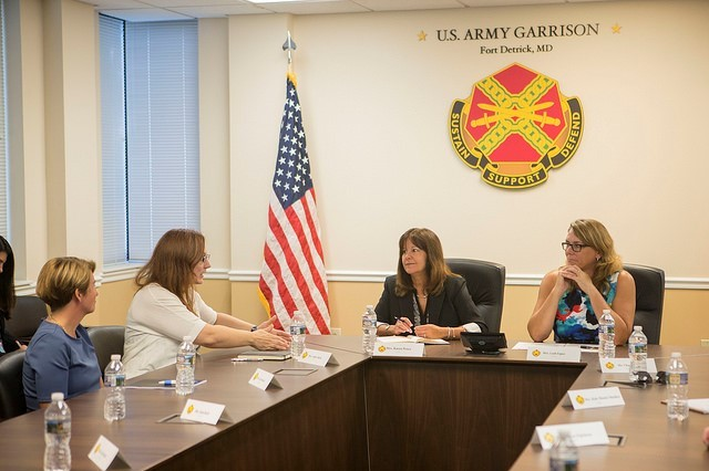 Karen Pence and Leah Esper hold a roundtable Sept. 4, 2018 with military spouses at Fort Detrick, Md. The roundtable presented a unique opportunity for military spouses to have their voices heard.