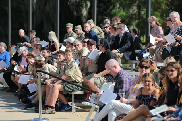 FORT BENNING, Ga. (Sept. 13, 2018) - The National Infantry Museum at Columbus, Georgia, held the inaugural rededication of its Global War on Terrorism Memorial Sept. 8. This rededication meets the promise made in 2017 that for each year the Global War on Terror continues, new names will be added to the memorial so that no Soldier's sacrifice will ever be forgotten. Each year the ceremony is scheduled to take place the first Saturday after Labor Day. (U.S. Army photo by Markeith Horace, Maneuver Center of Excellence, Fort Benning Public Affairs)