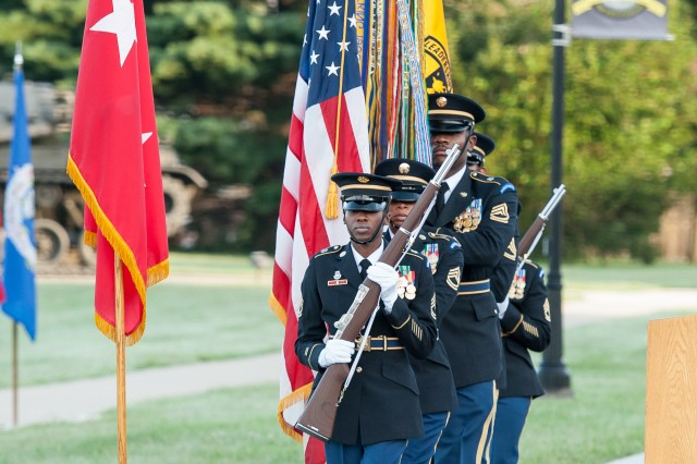 A color guard from U.S. Army Human Resources Command posts the colors at the start of the ceremony.