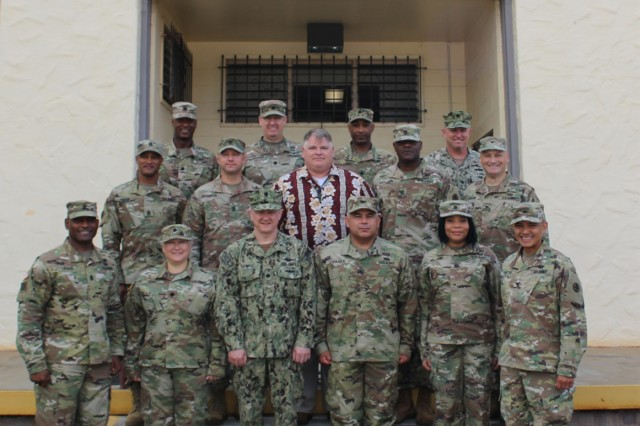 599th Transportation Brigade forum participants pose for a photo on the front steps of brigade headquarters on Sept. 6.