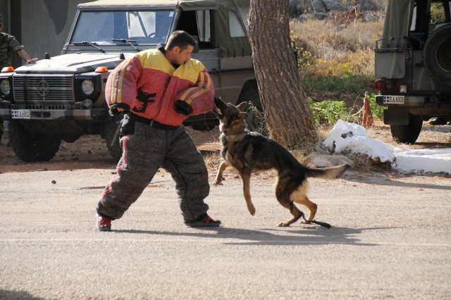 A Greek Air Force Military Working Dog team puts on a demonstration during the new clinic grand opening celebration.