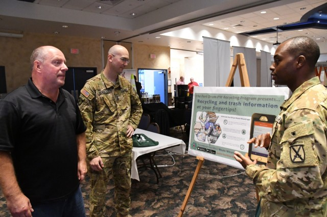 Anthony Reali, Fort Drum's solid waste program manager, introduces a new Fort Drum Waste Wizard app available for community members during the 5th annual Sustainability Expo on Sept. 11 at Fort Drum, New York. (Photo by Mike Strasser, Fort Drum Garrison Public Affairs)