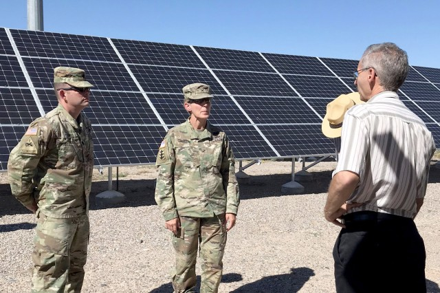 (l-r): District commander Lt. Col. Larry Caswell, South Pacific Division commander Col. (P) Kimberly Colloton, and Operations Division chief Mark Yuska tour the Cochiti Photovoltaic Project at Cochiti Lake, N.M., Aug. 28, 2018.