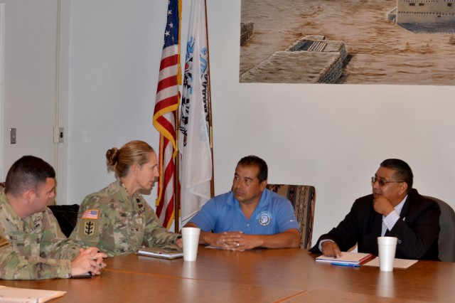 SANTA CLARA PUEBLO, N.M. -- During her visit to the District, USACE South Pacific Division commander Col. (P) Kimberly Colloton visited the pueblo and met with the governor, Aug. 29, 2018. (l-r): Albuquerque District commander Lt. Col. Larry Caswell; Col. (P) Colloton; Lt. Gov. James Naranjo; and Gov. Michael Chavarria.
