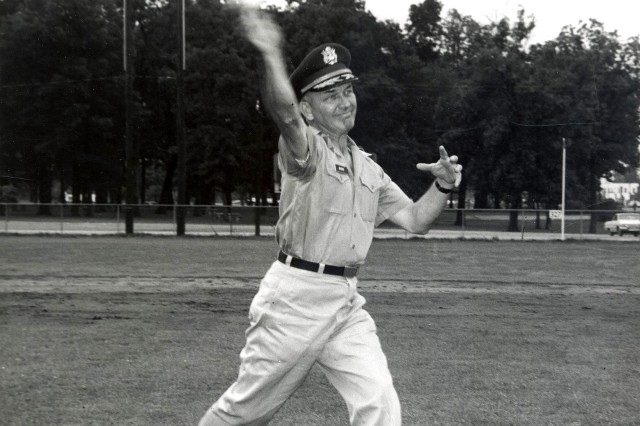An avid athlete and baseball player himself, at Fort Knox, Brig. Gen. Albin Irzyk, assistant commandant of the U.S. Army Armor School, throws out the first ball for the state championship baseball game on Cornwell Field at Fort Knox Aug. 13, 1966.