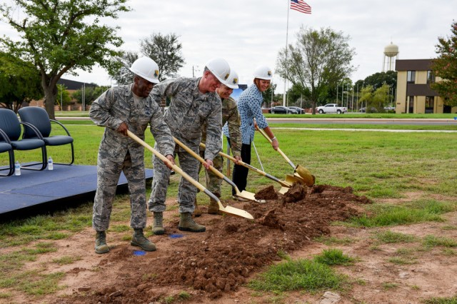 (From left) Brig. Gen. Ronald E. Jolly Sr., 82nd Training Wing commander, Col. Kevin McCal, 82nd Medical Group commander, COL Chris Hussin, Army Corps of Engineering, Tulsa District, commander, and Sandra Ross, representing 13th Congressional District Rep. Mac Thornberry, ceremoniously break ground on new $79 million 82nd Medical Group clinic construction project at Sheppard Air Force Base, Texas, Sept. 10, 2018.