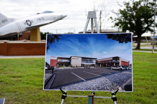This artist's rendering provides a glimpse to the future of medical care at the site of a groundbreaking ceremony to mark the beginning of construction for the 82nd Medical Group's new clinic at Sheppard Air Force Base, Texas, Sept. 10, 2018. The $79-million project should be complete by the end of 2020.