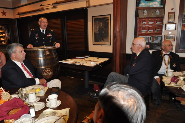 Brig. Gen. Vincent Malone, deputy commanding general of U.S. Army Research, Development, and Engineering Command, and senior commander of Natick Soldier Systems Center (NSSC) speaks with members of the greater Boston chapter of the Military Order of the World Wars at the Union Oyster House in Boston, Mass., September 11.