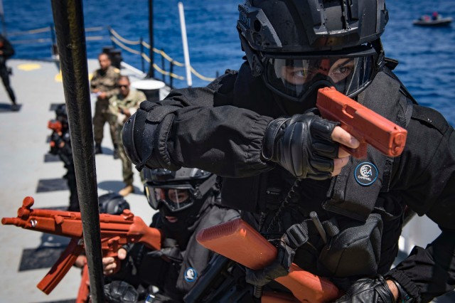 Moroccan Royal Navy sailors participate in visit, board, search and seizure training aboard the Tunisian Navy MNT Khaireddine during exercise Phoenix Express 2018. Phoenix Express is sponsored by U.S. Africa Command and facilitated by U.S. Naval Forces Europe-Africa/U.S. 6th Fleet, and is designed to improve regional cooperation, increase maritime domain awareness information sharing practices, and operational capabilities to enhance efforts to achieve safety and security in the Mediterranean Sea.