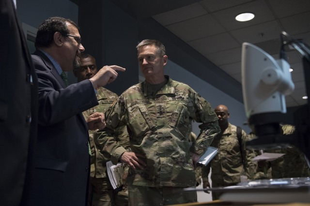 Perconti speaks with Gen. Daniel B. Allyn, then-vice chief of staff of the Army, during Allyn's April 2017 visit to ARL. ARL was established in 1992 to focus on gathering and generating land warfare technologies needed by the Army. With the recent stand-up of the Army Futures Command, ARL will focus on high-risk, high-payoff research to support S&T across the new command and represent its S&T interests worldwide.