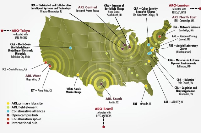 ARL is based in Adelphi, Maryland, with primary laboratory sites at Aberdeen Proving Ground, Maryland; Raleigh-Durham, North Carolina; Orlando, Florida; and White Sands Missile Range, New Mexico, as well as dozens of other sites throughout the U.S. and in three other countries. Its efforts include collaborative research alliances (CRAs), collaborative technology alliances (CTAs) and other collaboration research entities, such as the Institute for Collaborative Biotechnologies (ICB) and the Institute for Creative Technologies (ICT).