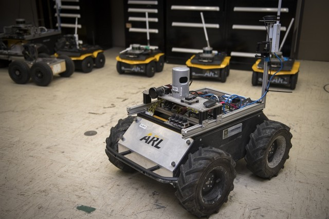 A small unmanned Clearpath Husky robot, which was used by ARL researchers to develop a new technique to quickly teach robots novel traversal behaviors with minimal human oversight.