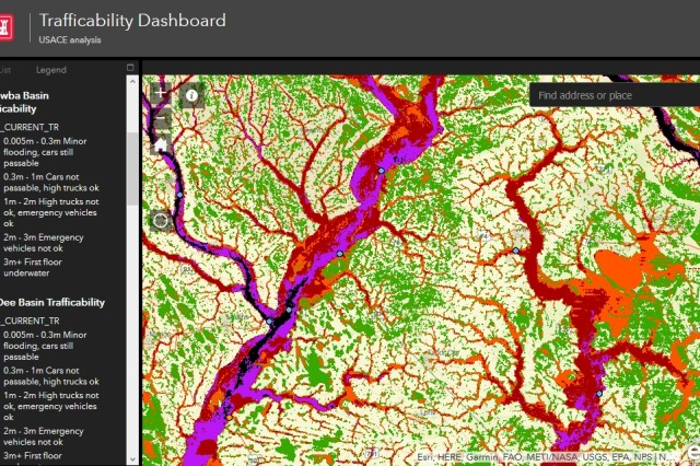 The U.S. Army Corps of Engineers (USACE) announced today the publishing of the online Trafficability Inundation Mapping Tool that provides the public with information on what regions are affected by the flood waters from Hurricane Florence. The tool can be found at http://www.sad.usace.army.mil/Storms/.