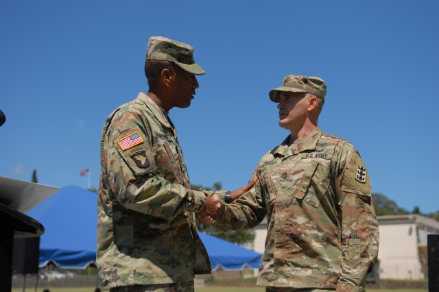 Maj. Gen Charles Hamilton, commanding general, 8th TSC, presents a coin of excellence to Sgt. 1st Class Ariel Romeroperez, 95th Engineer Company, Sept 18, during the Hispanic Heritage Month Observance, for being selected as the 2018 Department of the Army recipient of the League of United Latin American Citizens (LULAC) Excellence in Service Award. The LULAC award is given annually to military personnel who display dignified public service and acceptance of diversity.
