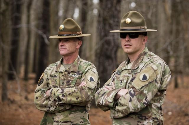 Drill sergeants from the Army Reserve's 104th Training Division, 108th Training Command, observe Soldiers during a lang navigation course for the 335th Signal Command (Theater) Best Warrior Competition at Fort Meade, Md., April 16, 2018.