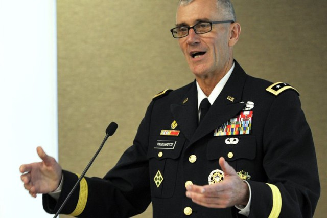 Lt. Gen. James F. Pasquarette, the Army's new G-8, speaks about modernization at an Association of the U.S. Army Institute of Land Warfare breakfast Sept. 19, 2018.