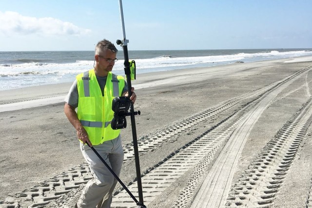 Chris Wright, U.S. Army Corps of Engineers, Charleston District, spent time surveying Folly Beach, Sept, 18, to determine any impacts from Florence. The district compares data from this post-storm survey with data obtained from a pre-storm survey last week to determine if there was any sand loss or movement.