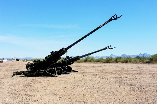 The M777A2 and M777ER side by side at a test site. On Sept. 19, 2018 the Army fired a modified M777 howitzer, doubling its previous range.