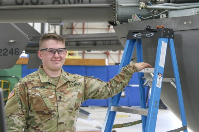 Spc. Grant Johnson, aircraft mechanic, North Carolina Army National Guard Detachment 1, Bravo Co., 2nd 151st Aviation Regiment, supports Hurricane Florence relief efforts by maintaining UH-72A Lakota Light Utility Helicopters. Maintaining aircrafts ensures the support and security crew is able to fly search missions to help individuals in flooded areas of North Carolina following the aftermath of Hurricane Florence.