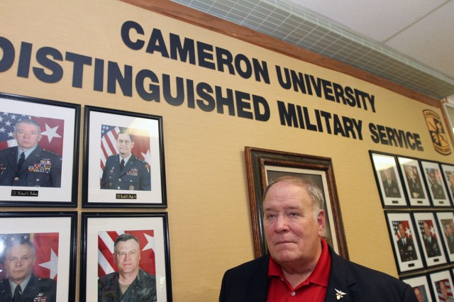Retired Lt. Col. Michael Sloniker was added to Cameron's Wall of Distinguished Military Service. He flew Huey helicopters in Vietnam. He lives in Edmond, Oklahoma.
