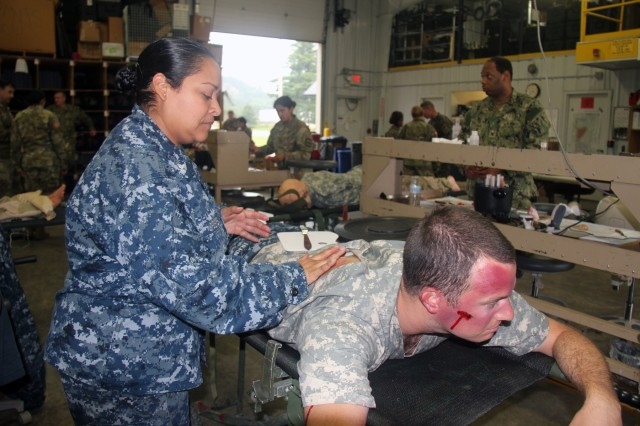 A Sailor applies moulage to a role-player Aug. 20, 2018, at Regional Training Site (RTS)-Medical at Fort McCoy, Wis. RTS-Medical supported both unit and collective training during Global Medic, which coincided with Combat Support Training Exercise 86-18-02. (U.S. Army photo by Aimee Malone, Public Affairs Office, Fort McCoy, Wis.)