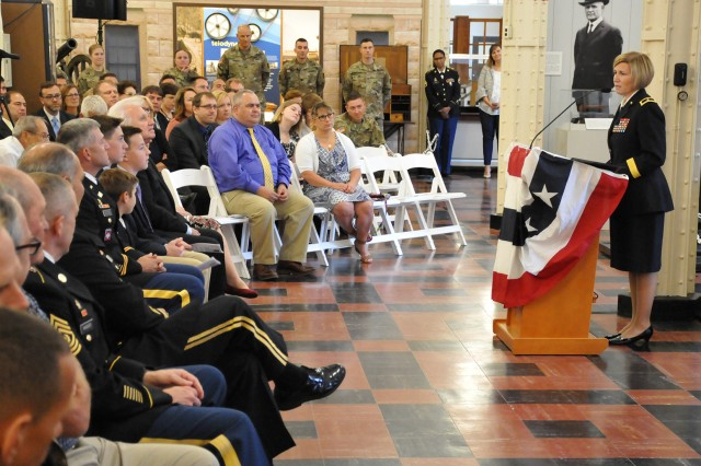 Brig. Gen. Michelle M.T. Letcher, commanding general, Joint Munitions and Lethality Life Cycle Management Command and the Joint Munitions Command, provides remarks to JMC staff, family, and distinguished guests during her promotion ceremony at the Rock Island Arsenal Museum, September 21.