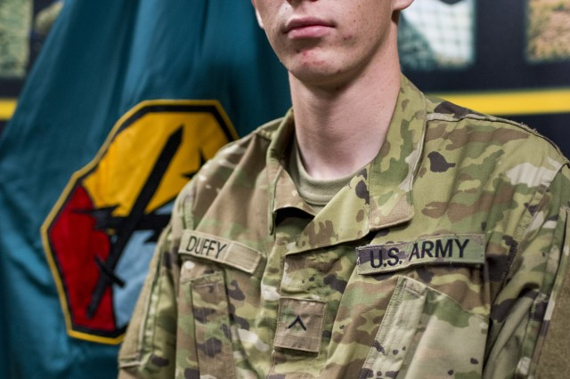 Pvt. Sean Duffy, cavalry scout, Bravo Troop, 2nd Squadron, 16th Cavalry Regiment, at Fort Benning, Ga., helped de-escalate a potential crime in July 2018 and was awarded the Army Commendation Medal this month for his courage and act of selfless service.