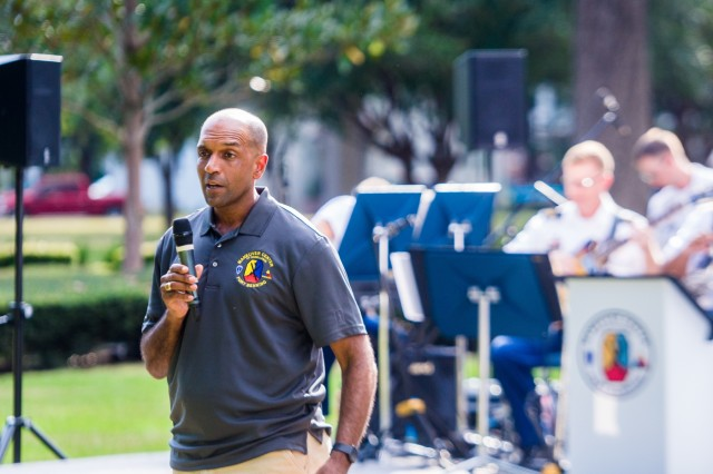 FORT BENNING, Ga (Sept. 24, 2018) - Maj. Gen. Gary M. Brito, Maneuver Center of Excellence and Fort Benning commanding general, hosts a concert on the lawn featuring the MCoE Jazz Band, Sept. 22, 2018, at historic Riverside at Fort Benning, Georgia. (U.S. Army photo by Patrick A. Albright, Maneuver Center of Excellence, Fort Benning Public Affairs)