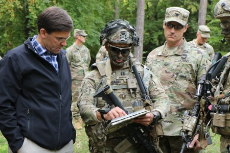 HOHENFELS, Germany -- Secretary of the Army Dr. Mark T. Esper visited the 173rd Infantry Brigade Combat Team (Airborne) and troops from allied and partner nations during Exercise Saber Junction 18 at Hohenfels Training Area, Sept. 22.