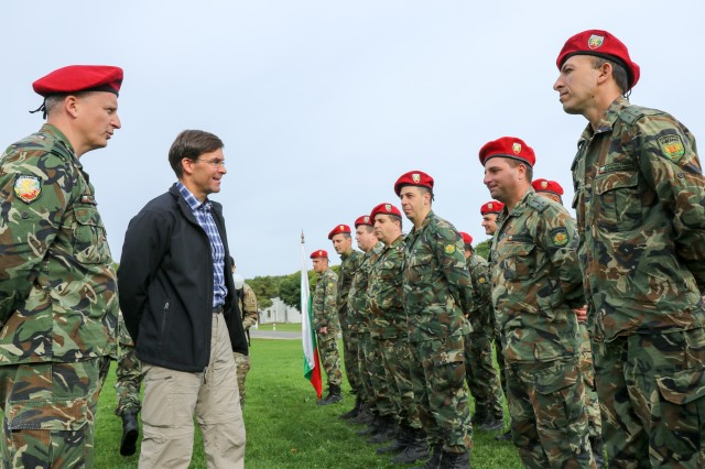Secretary of the Army Dr. Mark T. Esper meets Bulgarian military forces during Exercise Saber Junction 18 at Hohenfels Training Area, Sept. 22, 2018.