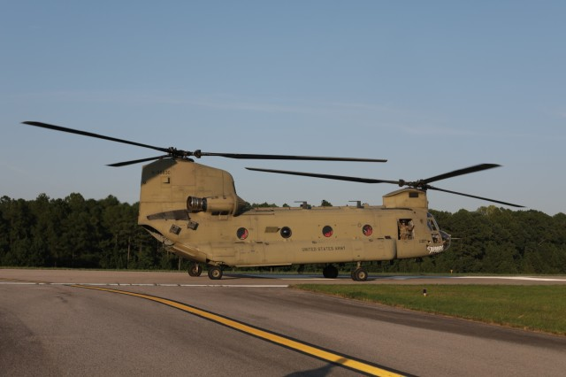 A CH-47 Chinook helicopter belonging to the Maryland National Guard prepares for takeoff at the North Carolina National Guard Army Aviation Support Facility 1 in Morrisville, N.C. on Sept. 19, 2018. The helicopter and its crew came from one of 13 states who provided aviation support in the aftermath of Hurricane Florence.