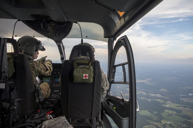 Lakota helicopter pilots with the North Carolina National Guard assist in search and rescue efforts in the aftermath of Hurricane Florence, Sept. 17, 2018.