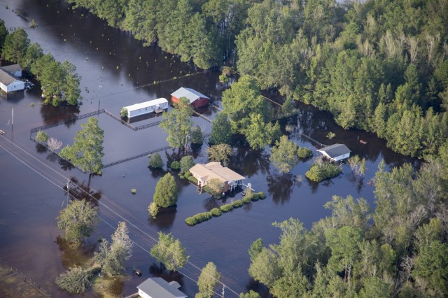 Homes and businesses are surrounded by water flowing out of the Cape Fear River in the eastern part of North Carolina Sept. 17, 2018 in the aftermath of Hurricane Florence.