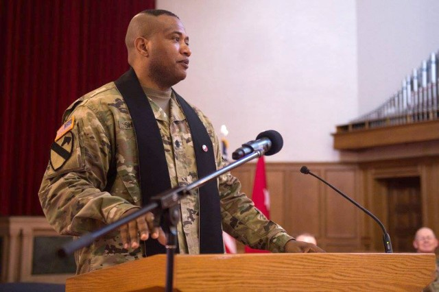 Lt. Col. Khallid Shabazz speaks during his Change of Stole ceremony inside the Lewis Main Chapel at Joint Base Lewis-McChord, Wash., May 23, 2017. Shabazz became the chaplain for the 7th Infantry Division during the ceremony, making him the Army's first Islamic chaplain at the division level. Shabazz is soon expected to be promoted to colonel, which would be the highest rank ever attained by any Muslim chaplain in the U.S. military.